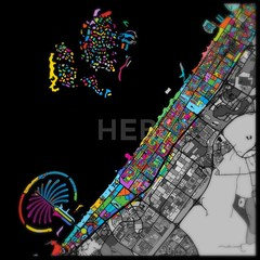Dubai Colorful Vector Map on Black (Hebstreits) Tags: amazing arab art beautiful color colorful colors create creation cute design distance dubai emirates ground highways infographic infographics landmark map marker outline pins plan planner pointer print printable roads route satellite street streets symbol tours travel united vector water