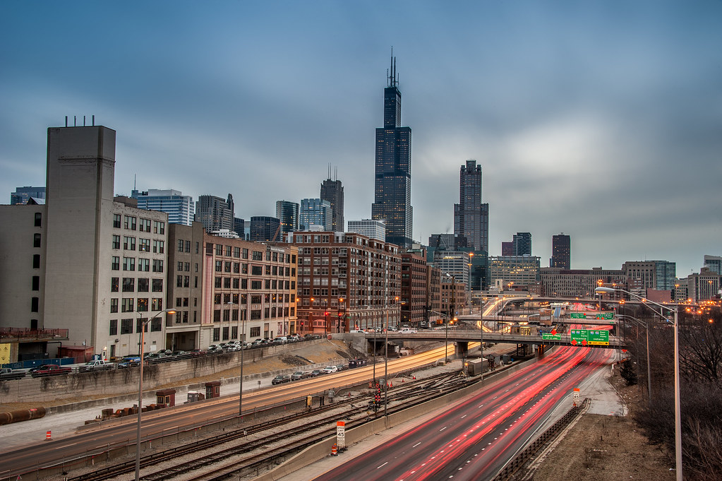 A long exposure of the Skyline and Highway from the UIC campus.
