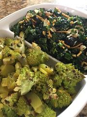 Kale Salad & Roasted Romanesco with Dill Pickle (Vegan Feast Catering) Tags: vegan almonds nooch hemp cranberry olive pickle lemon romanesco kale salad
