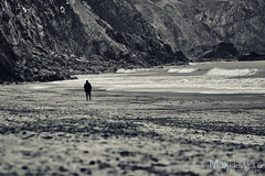 Solitary (Max Hawkins) Tags: aberporth alone bay beach ceredigion coast evening february figure man midwales ocean penbryn people person rock sand sea silhouette solitary sunset uk view wales walker water waves welshcoast winter