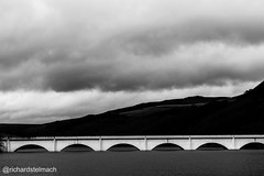 Bridge over Ladybower Reservoir (richardstelmach) Tags: bridge blackandwhite landscape outdoors derbyshire peakdistrict symmetry reservoir symmetrical snakepass ladybower thepeakdistrict derwentreservoir