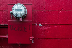 Tickle! (Wolfy) Tags: red summer usa building wall architecture oregon portland landscape outdoors daylight us grafitti unitedstatesofamerica craft commercial electricity northamerica damaged utilities defaced exteriors electricitymeter mostlyred cinderblockwall horizontalorientation midasmuffler