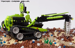 04_mining_ores (LegoMathijs) Tags: black green energy rocks desert lego crystal gates space tracks astronaut chrome planet scifi lime d04 miners driller tracked moc mathijs andromedas ores liftarm eurobricks legomathijs