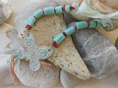 DSCN3201 (katerina66) Tags: texture coral necklace handmade turquoise polymerclay polymer handmadejewellery silksari fauxceramic    cosmicceramic