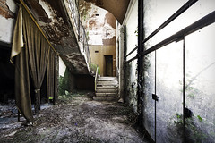 Theatre of an abandoned psychiatric hospital, somewhere in Italy. (ste_peg) Tags: italy abandoned architecture stairs hospital design insane theatre decay exploring staircase urbanexploration lunatic asylum decadence psychiatric mental urbex stepeg
