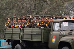 Soldiers in military truck during 70th anniversary of Workers' Party (bvoneche) Tags: kp pyongyang coredunord