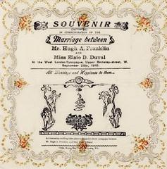 Souvenir paper napkin celebrating the marriage between Hugh Franklin and Elsie Duval, Sep. 1915.