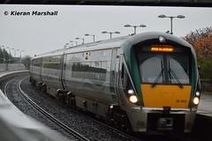22042 at Portarlington, 9/11/15 (hurricanemk1c) Tags: irish train rail railway trains railways irishrail rok rotem 22042 portarlington 2015 icr iarnród 22000 éireann iarnródéireann 4pce 1415heustonportlaoise