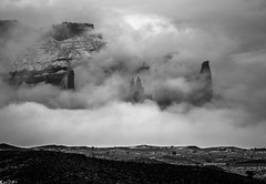 Towers in the mist (Bill Bowman) Tags: mist fog utah onioncreek fishertowers thetitan ancientarts professorvalley
