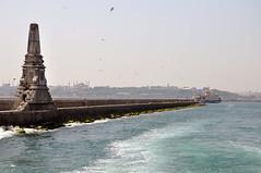 istanbul lighthouse (gnc.mustafa) Tags: travel blue sunset bird water ship istanbul su deniz vapur martı dalga sesi feneri yolcu yosun