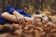 Alyona (ivankopchenov) Tags: blue autumn portrait people girl leaves forest dress