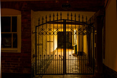 Bewdley After Dark (Explored) (williamrandle) Tags: uk longexposure autumn winter england architecture nikon apartments shadows nightshot gates bricks entrance worcestershire afterdark kidderminster 2015 bewdley d7100 sigma1835f18art