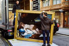 London 10x15 46 (LondonFrog) Tags: street uk england london art truck painting nude gallery streetphotography lorry frame delivery mayfair nymph satyr loading correggio 2015 grovesnor artinstreet