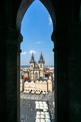 Through the frame (Hatoriz) Tags: old city travel blue sky urban building tower history clock church beautiful architecture square town europe day cityscape republic place czech prague cathedral market famous religion gothic praha landmark marketplace bohemia tyn staromestske mesto namesti churchofourladybeforetn
