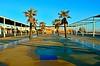 Le carré bleu. (sergecos) Tags: place square portleucate bleu blue arbres trees perspective côte littoral coastline shoreline nikon d7000 morning matin palmiers palmtree palm color couleur