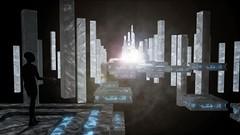 Pilgrim's Path (The Infamous Blue Tie) Tags: science fiction alien creature temple lights fog clouds pillars platforms magic strange dream state wonderer pilgrim