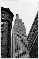 Zip Code 10118 - NYC (gastwa) Tags: nikon f6 afs nikkor 58mm f14g prime ilford hp5 plus film analog black white blackandwhite bw monochrome scenery landscape newyork nyc travel andrew gastwirth andrewgastwirth structure empire state empirestate building architecture street