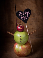bite me (auntneecey) Tags: biteme apples snowwoman attitude humor photoshop texture fruit 365the2017edition 3652017 day10365 10jan17
