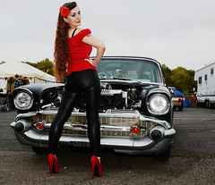 Holly FT  152 (Fast an' Bulbous) Tags: 57 chevy chevrolet american car vehicle automobile drag race fast speed power people outdoor girl woman chick babe long brunette hair red shoes high heels stilettos tight leather jeans pvc leggings model pinup beauty nikon santa pod england