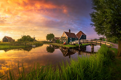 Dutch Classic (albert dros) Tags: zaanseschans spring zaandam windmills dutch travel albertdros reflections nederland netherlands zaandijk tourism cheese sunset