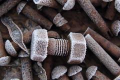 altes Eisen (honiigsonne) Tags: rivet nieten frost frosty screw iron rust rusty bold old ice winter schraube schrauben schrott eisen altmetall rost rostig eis outside outdoor frostig