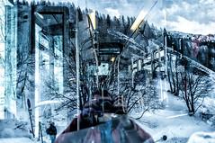 In front of the bus (single exposure) (-Visavis-) Tags: letour reflections selfie chamonix france skibus fujix100 finepixx100 savoie 35mm chaos