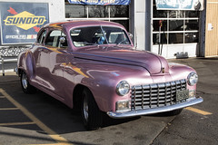 Pink '47 Dodge (dckellyphoto) Tags: car old antique pink dice fuzzydice shiny metal garage servicestation sunoco fallschurch pimmithills virginia fairfaxcounty dodge 1947dodge 47 1947 parked