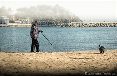 Entre boires, passejant el gos. (Canet de Mar - Catalunya). (Antoni Gallart i Vilarrasa) Tags: d800 avi abuelo grandfather wolking fog niebla boira brumas mists boirina gos perro dog arena serra sand playa platja beach maresme