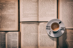Little pleasures (V Photography and Art) Tags: books vintagebooks coffee espresso music pointofview fromabove musicnotes