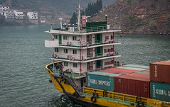 2016 - China - Yangtze River - China Shipping (Ted's photos - Returns Mid May) Tags: 2016 china cropped nikon nikond750 nikonfx tedmcgrath tedsphotos vignetting yangtzeriver triton chinashipping boat ship barge barging containers containership bow shipbow