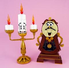 Lumière and Cogsworth (Swan Dutchman) Tags: clock candle lego lumière disney beautyandthebeast candelabra waltdisney cogsworth beourguest