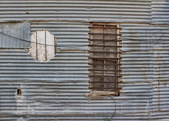 Windows, Wood and Wires (Helen Orozco) Tags: wood texture window wire shapes corrugated hww galvanizedsheet windowwednesdays