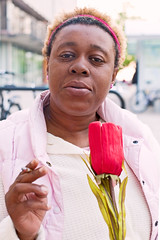 MeeMee (local paparazzi (isthmusportrait.com)) Tags: pink red people flower detail floral person eos 50mm iso800 pod flora raw f14 strangers fake clarity human tulip usm madisonwi ef sharpness 2015 canonraw cr2 catchycolorsred 50mmf14usm 100strangers danecountywisconsin photoshopelements7 canon5dmarkii localpaparazzi redskyrocketman lopaps isthmusportrait 608strangers