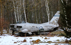 """Relic: Yugoslavian Air Force, F-86, Serial 22792 in a """"mine field"""" next to the airport of Zagreb. (Erwin's photo's) Tags: fighter force aircraft air north jet croatia american zagreb wfu yugoslavia f86 yugoslavian stored"""