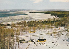 """NE Charlevoix MI 1950s Mount MT MCSAUBA just outside of Charlevoix near North Point on Lake Michigan Little Traverse Bay FUN TIMES for Family Skiing or just a Great Singles Après-ski experience3 (UpNorth Memories - Donald (Don) Harrison) Tags: travel usa heritage history tourism st vintage antique michigan postcard memories restaurants hotels trailer roadside upnorth steamship cafes excursion attractions motels mackinac cottages cabins campgrounds city"""" bridge"""" island"""" """"car upnorthmemories rppc wonders"""" """"big """"railroad """"michigan memories"""" mac"""" """"state parks"""" entertainment"""" """"natural harrison"""" """"roadside ferry"""" """"travel """"don """"tourist """"mackinaw puremichigan stops"""" """"upnorth straits"""" ignace"""""""