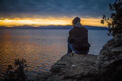 Top of the World (Evan's Life Through The Lens) Tags: camera blue sunset portrait orange cliff sun mountain lake beach water face vintage lens photography 50mm photo sony hike follow trail feild 135mm a7s