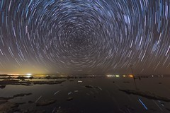 Some More Star Trails On the Southwestern Shore of the Salton Sea (slworking2) Tags: saltoncity california unitedstates us saltonsea lake desert starstax startrails water shore beach night nighttime sky