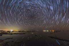 Some More Star Trails On the Southwestern Shore of the Salton Sea (slworking2) Tags: saltoncity california unitedstates us saltonsea lake desert starstax startrails water shore beach night nighttime sky