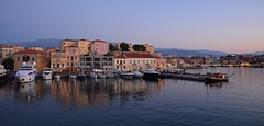 evening panorama (JoannaRB2009) Tags: harbour caniavenetianharbour water reflections sea mediterranean landscape seascape cityscape bluehour building architecture boat yacht lights evening chania hania xania canea crete kriti kreta greece summer sunset