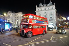 Under the lights of Piccadilly Circus (gooey_lewy) Tags: christmas lights charter time line events buses bus london red double decker rt ensign ensignbus 3251 llu 610 tle night dark evening under piccadilly circus taxi blur movment