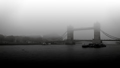 Tower Bridge Fog, London (Syed Ali Warda) Tags: architectural artistic art black white fog canon7d cityscape canon clouds cityscapes cityofwestminster dramatic darkclouds distinguishedlongexposure dark england exposure excellent europe exciting flickr greatphotographers giantbuilding towerbridge london landscape landscapes longexposure londoncentral landmark bridge monument outdoor observing outside picture photo syedaliwarda sky thames unitedkingdom uk blackandwhite monochrome