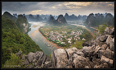 Xingping Viewpoint over Lijiang River (JozefMindok) Tags: 2016 china hill breathtaking fog aerial destination natural green river travel chinese view sunrise scenery orange light summer viewpoint li asia clouds county countryside famous reflection city panorama beauty mountain rural sunset outdoors sky scenic tourism scene beautiful background water nature asian landscape guangxi yangshuo xingping guilin xianggong lijiang