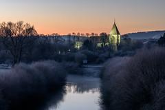 Wintermorgen an der Lippe (webpinsel) Tags: flaesheim fluss halternamsee kirche kälte lippe morgenstimmung natur schleuse sonnenaufgang winter
