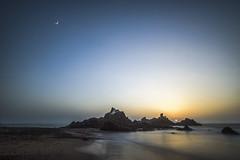 Meeting the Moon with the Sun (Julien Sanine) Tags: maroc morocco mirleft moon sunset sun sea ocean atlantic agadir sidi ifni moonrise long exposure pose julien sanine nikon d750 17 35 28