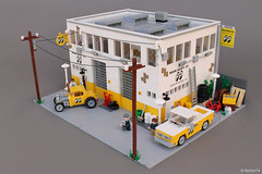 MOONEYES headquarters - Santa Fe Springs CA | exterior (Andrea Lattanzio) Tags: lego custom hotrod moon mooneyes california santafe pickup ford fordmodelb foitsop norton74 garage headquarters deanmoon losangeles workshop depot warehouse fordcustom kustom