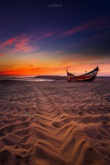 Sunset at the Beach (paulosilva3) Tags: sunset beach colors sand sea water boat arte xávega canon manfrotto lowepro lee filters espinho portugal