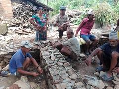 Mason and House owner during house construction at Jyamrung, Dhading district , Nepal (hrrp_im) Tags: hrrp nset baliyoghar nsetbaliyoghar plinth band stone rural reconstruction