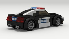 Ford Mustang Police (2018) (rear view) (Tom.Netherton1) Tags: ford mustang fox body classic vintage v8 american america vehicle coupe 1980s 1990s speed speedster sport sports muscle city car cars pony lego legos ldd digital designer dropbox download lxf pov povray 2door indoor police cruiser cop white background 2018 2000s 2010s fast auto