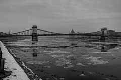 Drift ice under the Chain-bridge (Majorimi) Tags: canon eos 70d digital color colorful nice hungary budapest danube cold ice gray winter bridge river water reflection chain bw black white chainbridge hdr parliament architecture