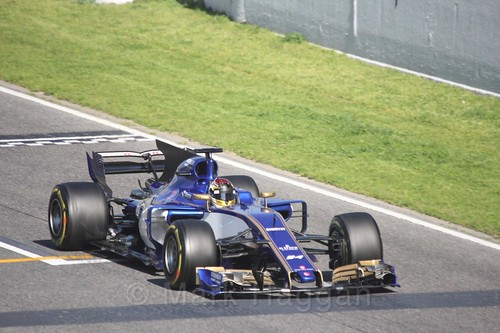 Pascal Wehrlein in his Sauber in Formula One Winter Testing 2017